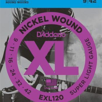D'Addario Elektrische snaren XL round wound nickel set Super Light 09-042