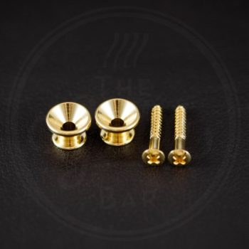 Boston strap button, metal, gold, with screw, V-model, diameter 14mm, 2-pack