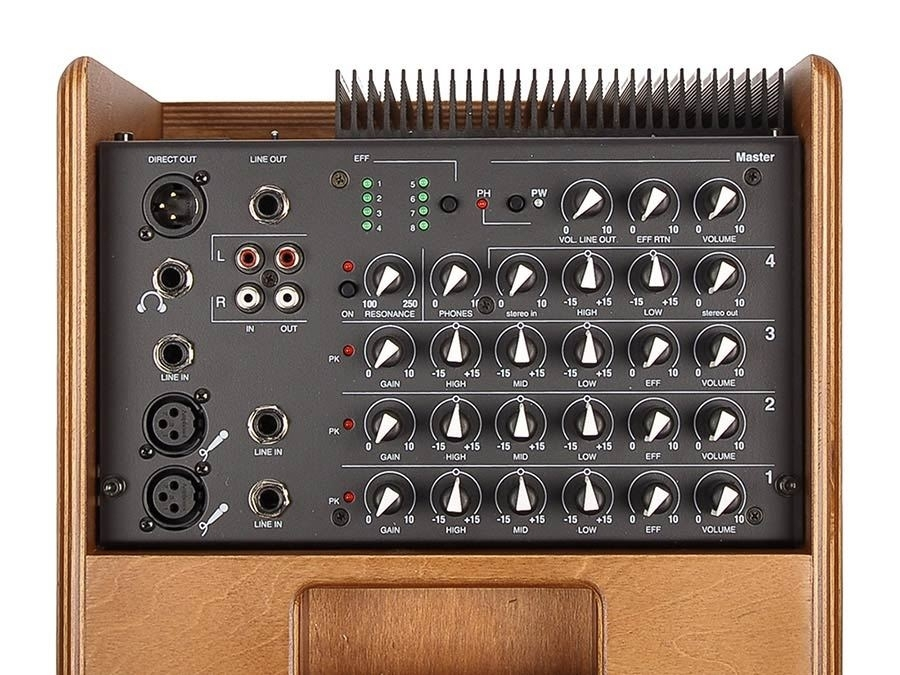 Acus 200W, three channels, reverb, tilt-back design
