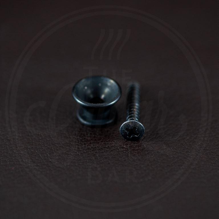Boston strap button, metal, black, with screw, V-model, diameter 14mm, 2-pack