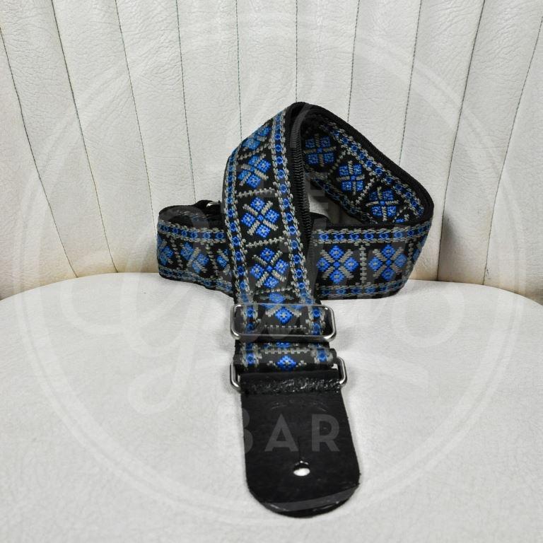 "Gaucho traditional series 2"" jacquard weave - blue on black"