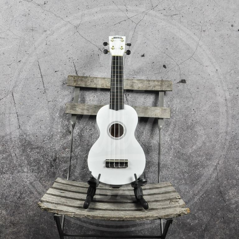 Mahalo Rainbow ukelele - Aquila strings - nubone saddle - White