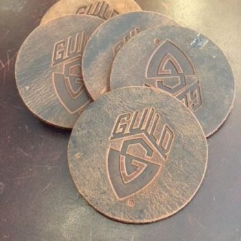 Guild leather drink coaster brown