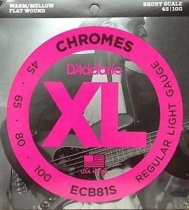 D'Addario Bassnaren XL Chromes Flatwound short scale !45-65-80-100