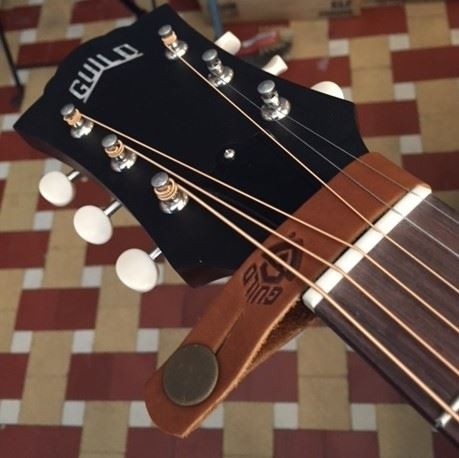 Guild headstock tie strap brown
