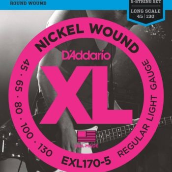 D'Addario Bassnaren XL Round wound nickel Set Long 5str 45-65-80-100-130
