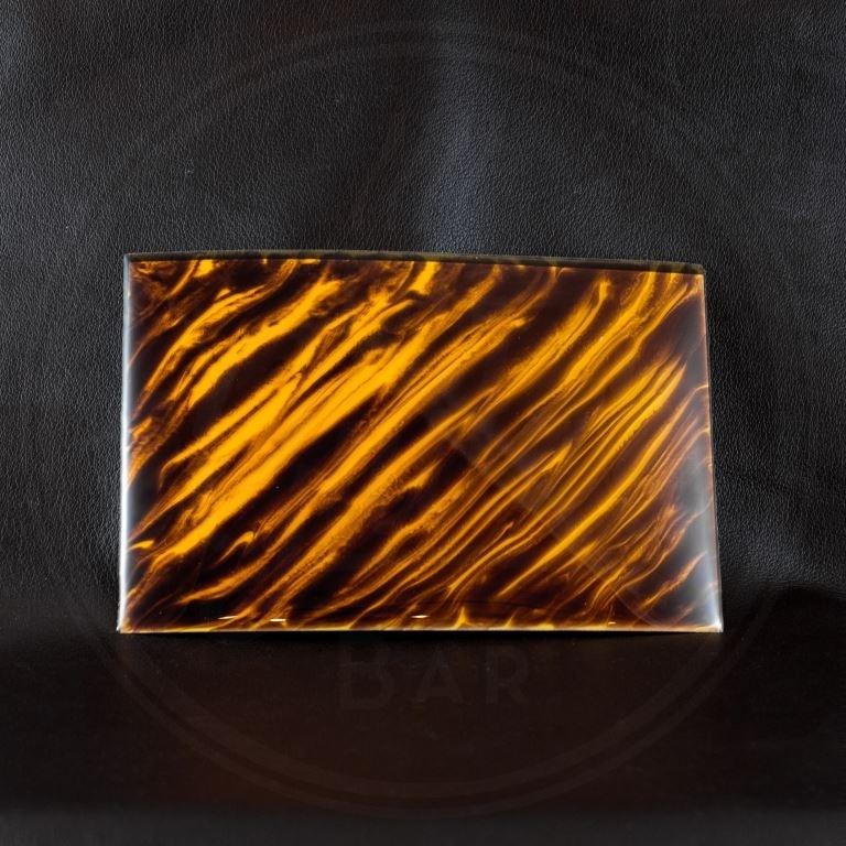 StewMac Tortoloid pickguard material, amber/brown tigerstripe