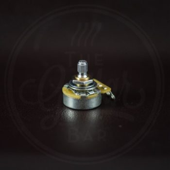 "CTS 250k linear potentiometer, short bushing, .250"", 3/8"" diameter, USA style dished back, pickguard"