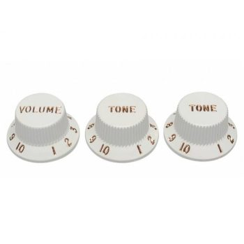 Original Replacement Part Strat knobs for CTS shaft size, 1V+2T, white