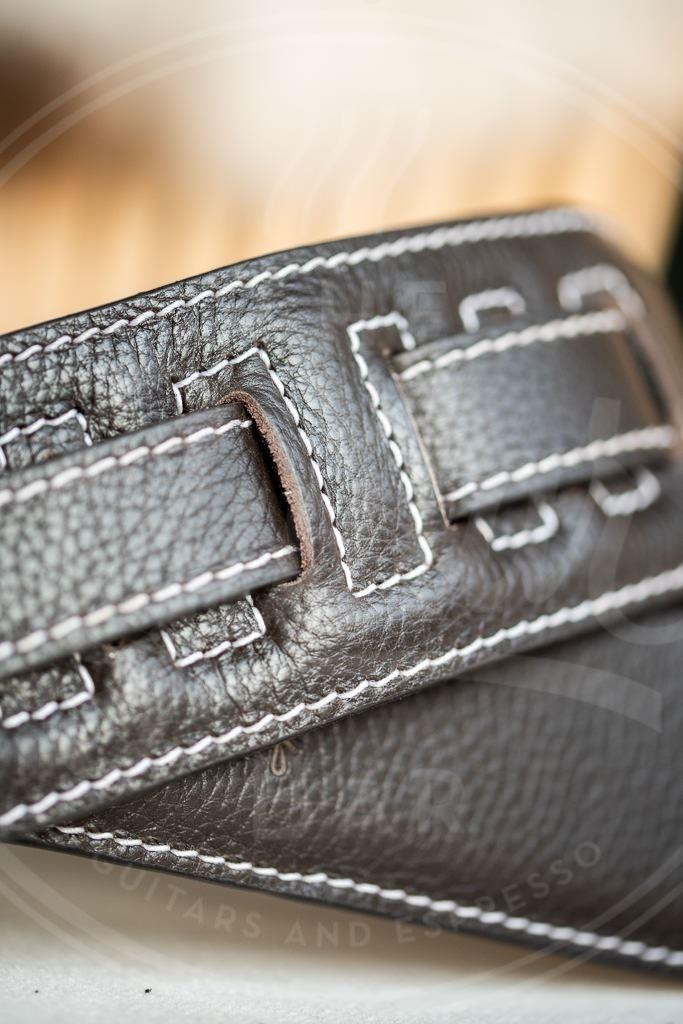 Kaffa guitarstrap simply dark brown - leather