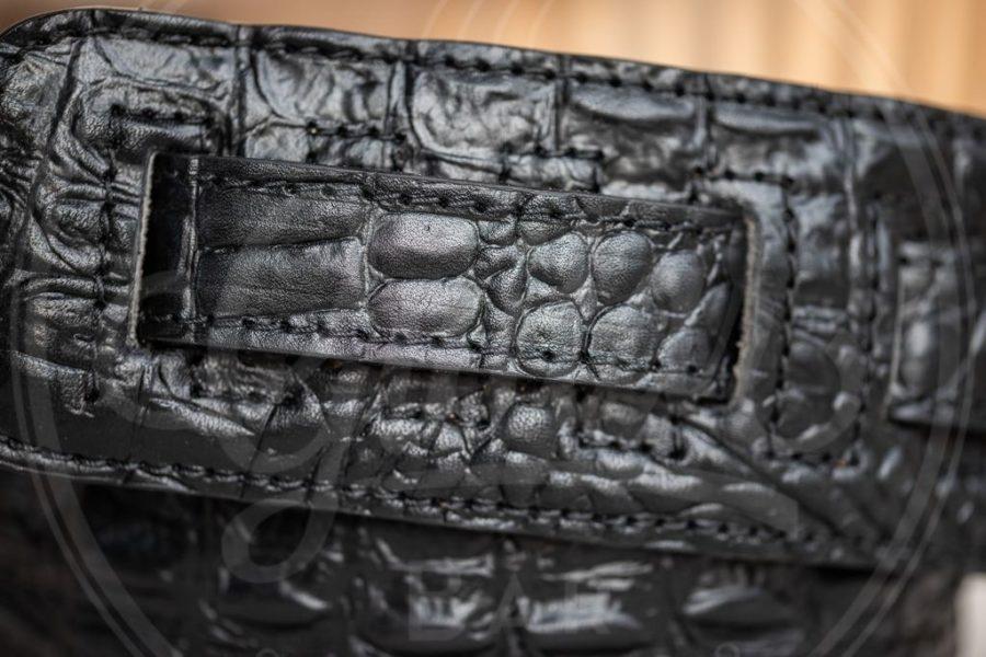 Kaffa guitarstrap crocodile leather - black