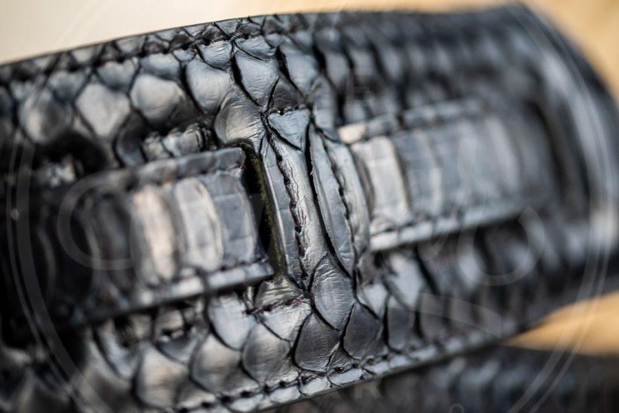 Kaffa guitarstrap Python leather - black