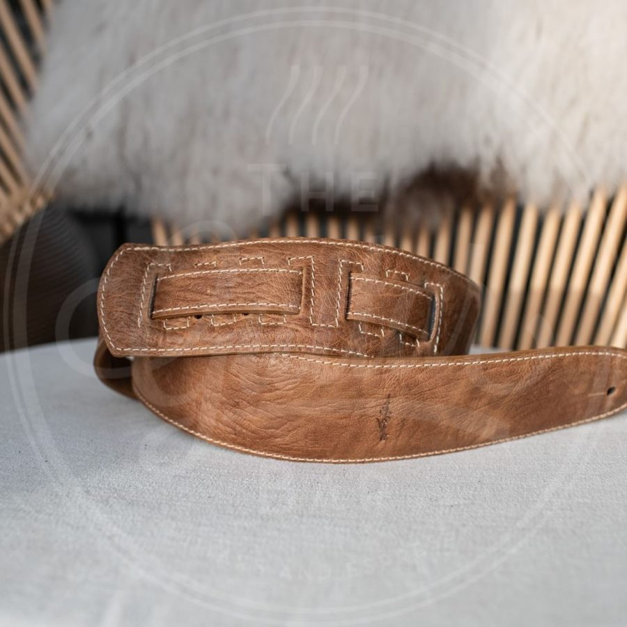 Kaffa guitarstrap buffalo light brown leather