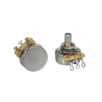 "CTS USA 250K audio potentiometer, solid shaft, short bushing .250"", 3/8"" diameter, pickguard mount"