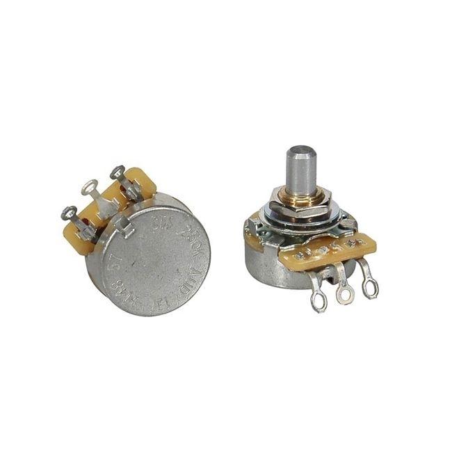 "CTS USA 250K audio potentiometer, solid shaft, short bushing .250"", 3/8"" diameter, pickguard mount"