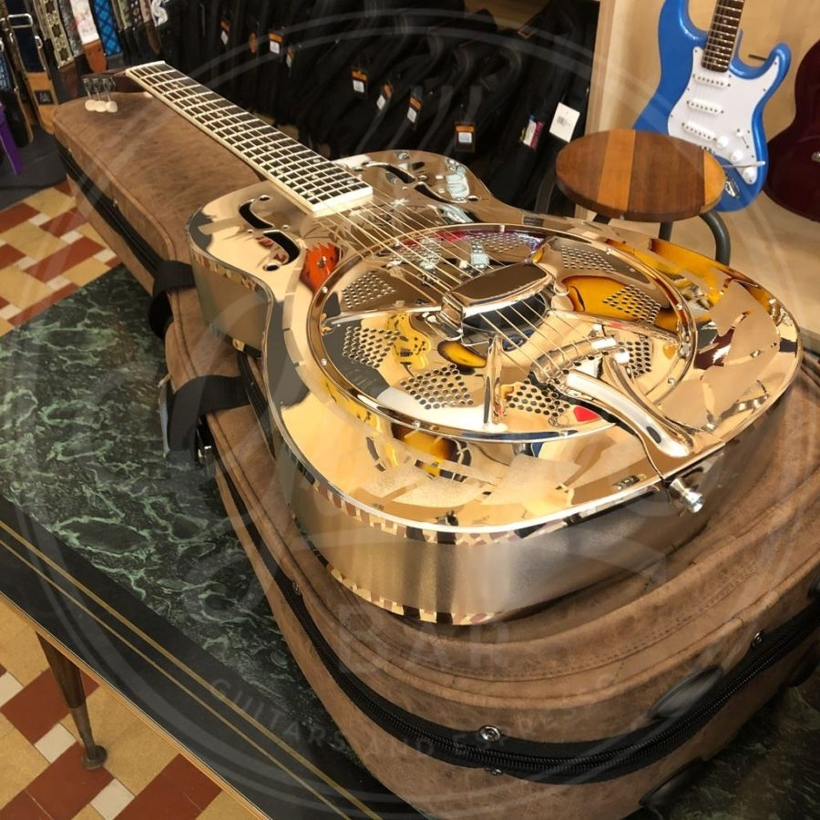 Royall bell brass body single cone resonator WEST END, 14 frets, etched nickel finish, with softcase