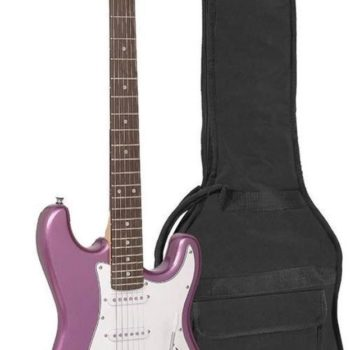 Sx electric guitar, with 3 single coil pickups and vintage tremolo, bag, metallic purple
